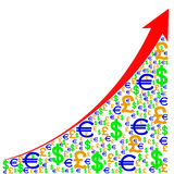 Graph Growth Rates Stock Photo