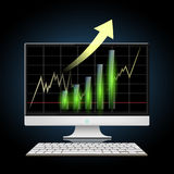 Graph of growth. Stock illustration. Graph of growth of the financial result. Stock  illustration Stock Photography