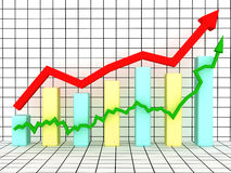 The graph of growth of the two arrows Royalty Free Stock Images