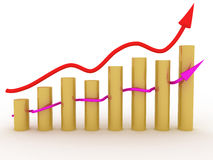 The graph of growth of the two of arrows №3 Stock Images