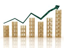 The graph of growth of the yellow marble columns Stock Image