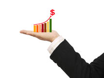 Graph on hand. Image of graph on hand show a success business and white background royalty free stock photo