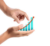 Graph on a hand businessmen Royalty Free Stock Photos