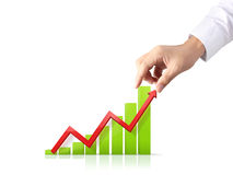 Graph in the hand businessmen Stock Photo