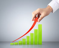 Graph in the hand businessmen Stock Image