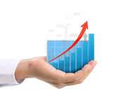 Graph in the hand Royalty Free Stock Images