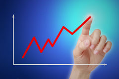 Graph. Hand following business a graph. Concept about sale,finance,career and so on stock images