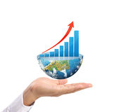 Graph on hand, local businessmen Royalty Free Stock Image