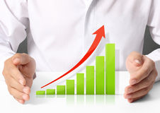 Graph in hand Royalty Free Stock Images