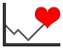 Graph with Heart Symbol. Black shiny graph with red heart symbol on an up trend royalty free illustration