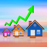 Graph with house  on  abstract  background Stock Image