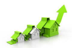 Graph of the housing market. 3d Graph of the housing market stock illustration