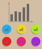 Graph icon with color variations, vector. EPS10 Stock Photos