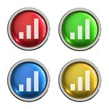 Graph icon glass button. Graph round shiny 4 color web icons with metal frame,3d rendered isolated on white background Stock Photos