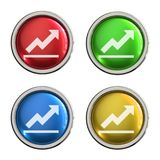 Graph icon glass button. Graph round shiny 4 color web icons with metal frame,3d rendered isolated on white background Royalty Free Stock Photos