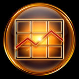 Graph icon golden Stock Photo