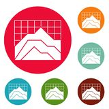 Graph icons circle set vector. Isolated on white background Stock Images
