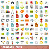 100 graph icons set, flat style. 100 graph icons set in flat style for any design vector illustration Royalty Free Stock Images