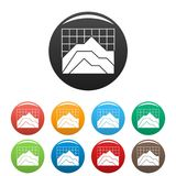 Graph icons set collection circle. Graph icons set in simple style many color circle isolated on white background Stock Images