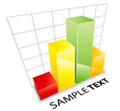 Graph illustration. An illustration of a colorful 3D financial bar graph, isolated on a white background Royalty Free Illustration