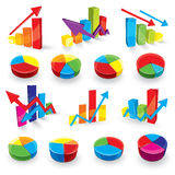 Graph illustration set. A set of graph illustrations in bright colors Royalty Free Stock Photography