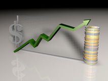 Graph. Illustration of upward graph and currencies Stock Photos