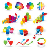 Graph illustrations. A selection of multi-colored graph and chart illustrations Royalty Free Stock Images