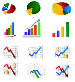 Graph illustrations. Set of colorful graph and chart illustrations Stock Photography