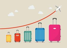 Graph increase in the number of tourists traveling. Vector illustration Royalty Free Stock Photography