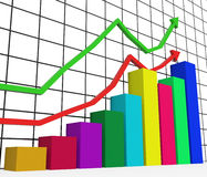 Graph Increasing Indicates Growth Statistics And Increase. Graph Increasing Representing Data Commerce And Finance Stock Photos