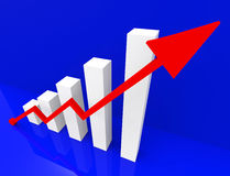 Graph Increasing Shows Financial Report And Advance Stock Image