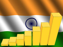 Graph and Indian flag Stock Image