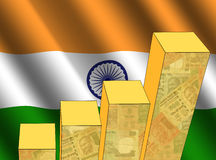 Graph with Indian flag stock illustration