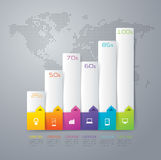 Graph infographic design and business icons with 6 options. Royalty Free Stock Photography