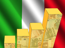 Graph with Italian flag Royalty Free Stock Photography