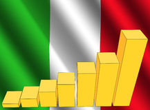 Graph and Italy flag Stock Image