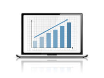 Graph in Laptop Royalty Free Stock Photography