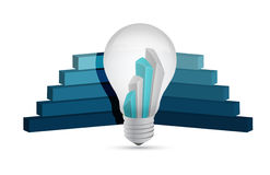Graph lightbulb, business illustration design Royalty Free Stock Photos