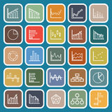 Graph line flat icons on blue background Royalty Free Stock Photo