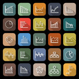 Graph line flat icons with long shadow Royalty Free Stock Photography