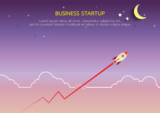 Graph line with rocket style in flat design. Business start up concept.Graph line with rocket style in flat design.Vector illustration Stock Images