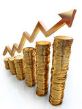 Graph made of golden coins Stock Photography