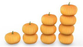 Graph made of orange pumpkins Stock Photos