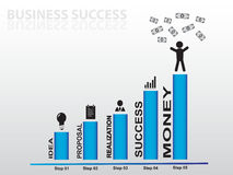 Graph with many business icons succes with money blue Stock Photography
