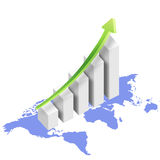 Graph with map Royalty Free Stock Images