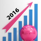 Graph 2016 Means Forecasting Business. Graph 2016 Meaning Forecasting Business Financial Growth Royalty Free Stock Photos