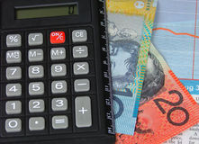 Graph and money. Calculator and australian money stock photo