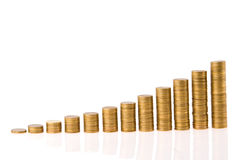 Graph from money. Twelve columns progress over white background Royalty Free Stock Image