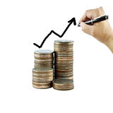 Graph on money growth concept in business. Coins on white background Stock Image