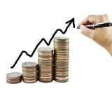 Graph on money growth concept in business. Coins on white background Royalty Free Stock Photography
